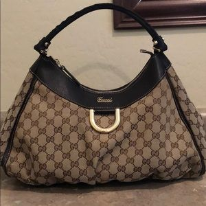 GUCCI Monogram Leather Straps Hobo Bag